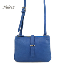 Nuleez Summer Small Genuine Leather Bags Real Leather Crossbody Messenger Bags Blue Zipper Cheap Price Handbags Promotion 8002