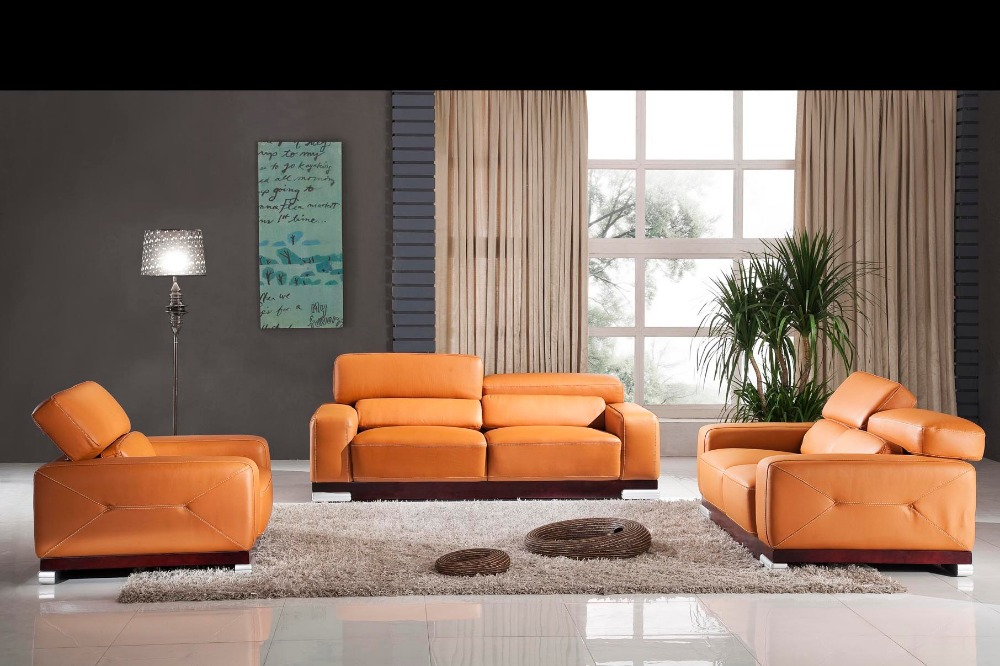 Designer Modern Style Top Graded Cow Genuine Leather Corner Living Room Sofa Set Suite Home Furniture