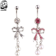Crystal Butterfly  Belly Button rings Beads Dangle Ball Barbell Bar Navel piercing Ring 14G 316L surgical steel 1 piece