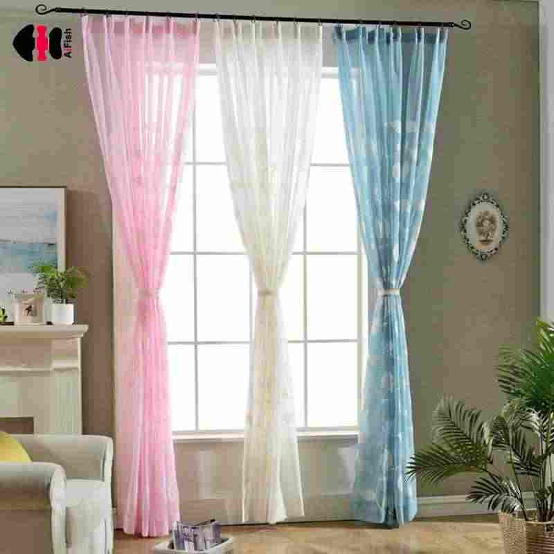 Embroidery Leaf Design Finished Rustic Organza Tulle Fabric Sheer Curtains White Pink Blue Curtains Bedroom WP012C