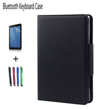 For Samsung Galaxy Tab 3 10.1 inch P5200 P5210 P5220 PU Leather Case+Detachable Wireless Bluetooth Keyboard Stand Cover+pen+film