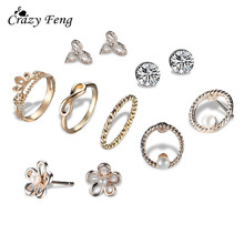 Crazy Feng Fashion Gold Color Geometric Jewelry Sets 3 Pairs Earring Stud+5pcs Crystal Crown Rings For Women Gifr Christmas Gift(China)