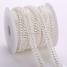 10yards Pearl Crystal Rhinestone Cup Chain Pearl Base Wedding Dress Decoration Trim Applique Sew on Party Dress