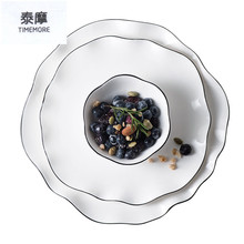 Creative Plates Irregular white plate set fruit dish steak dishes soup bowls High Quality Plates and bowl hotel ceramic tablewar(China)