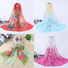 Ravi Town Chiffon Thin Scarf 2017 Summer Burst Fashion and Printing Chiffon Summer Sunscreen Cape Flowers Shawls Long 90 * 90cm(China)