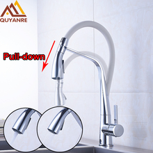 Promotion White And Chrome Kitchen Faucet Pull Down With Two Out-water Sprayer Spout Hot Cold Water Mixer Tap Deck Mounted