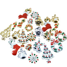 Wholesale 15pcs Colorful Mixed Christmas Snowflake Gift Enamel Charms Fit Jewelry Making Hanging Art Small Metal Handmade Crafts