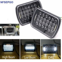 "2pcs LED Square Headlight 7x6"" 5x7"" LED Headlamp Replacement w/DRL H6054 H5054 69822 6052 6053 for Jeep Cherokee GMC Trucks 4X4"