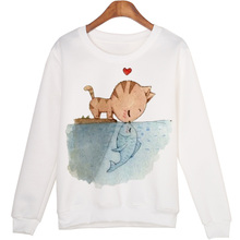 Cat Kissing Fish Print Sweatshirts Casual Pullovers Women Sweatshirt Sudaderas Girls jumper Women white Long Sleeve Hoody