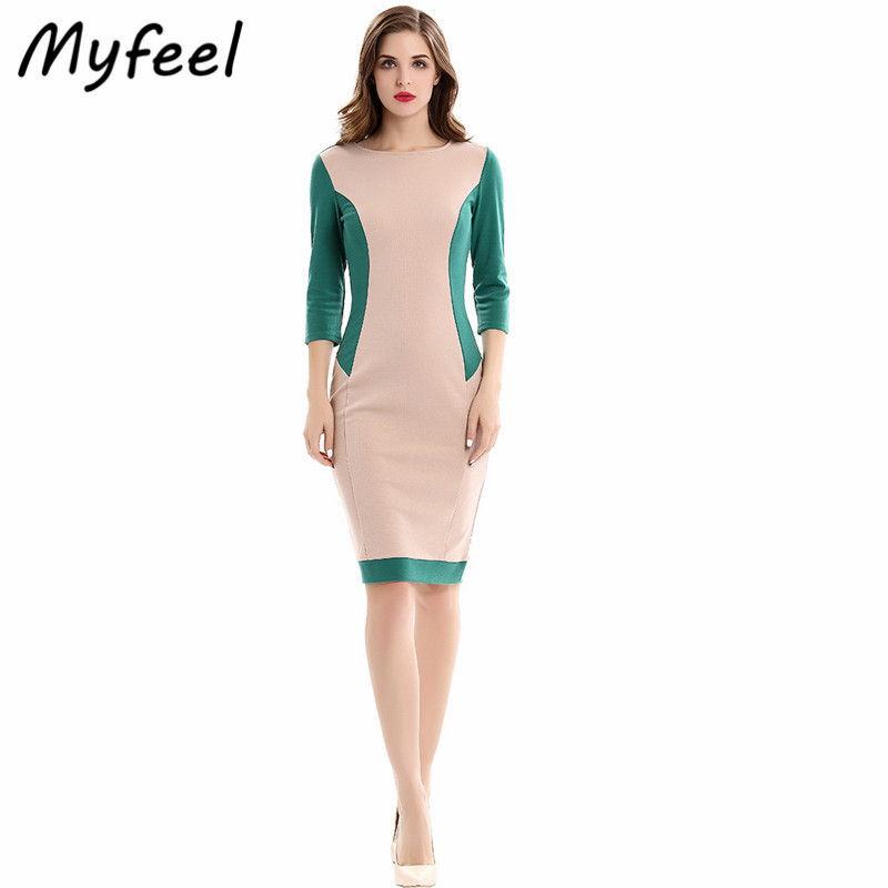 Myfeel Casual Work Attire Dress Summer Ladies Knee Length O-Neck Bodycon Sheath Fit Patchwork Pencil Knitted Office Dresses(China)