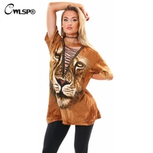 CWLSP Women T Shirt 3D Lion Hollow Out Cross Tied up Halter Collar Long Tshirt Dress harajuku novelty moda coreana feminina
