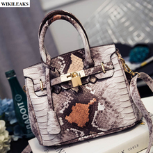 2016 famous Brand women Leather snake Bags Casual Tote Women's serpentine Handbag Crossbody Ladies Bag girl Messenger gold lock