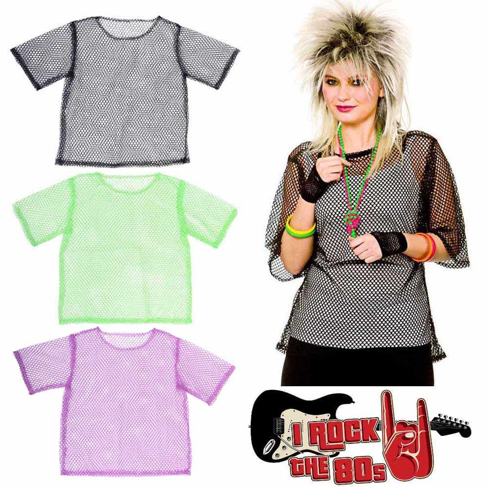 80s Fishnet Neon T-Shirt Retro String Mesh Top Roller Disco Rocker Fancy  Dress Unisex e4d78ef3b95a