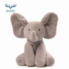 "Baby 12"" Plush ANIMATED FLAPPY the ELEPHANT plush toy PEEK-A-BOO SINGING baby music toy Ears Flap And Move funny toys"