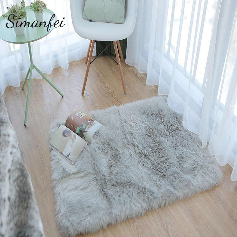 Excellent Simanfei 2019 Hairy Carpets Washable Artificial Textile Area Square Rugs Sheepskin Plain Fur Skin Fluffy Bedroom Faux Mats Interior Design Ideas Oteneahmetsinanyavuzinfo