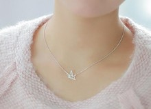 2017 New Hot Sale Gold Silver Origami Crane Necklace Origami Bird Choker Necklace Cute Jewelry For Woman Gifts Good(China)