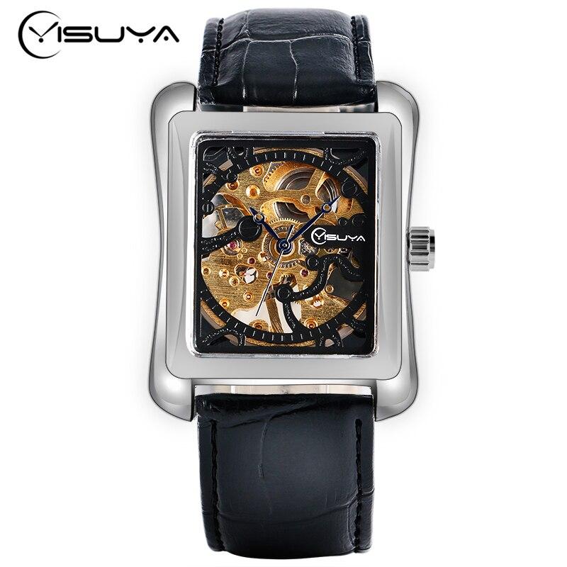 YISUYA Rectangle Mechanical Hand Wind Genuine Leather Band Business Wrist Watch Golden Skeleton Dial Luxury Women Bracelet Gift <br><br>Aliexpress