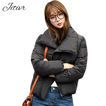 Hot Sale 2017 Winter Women's Cotton Padded Clothes Short Style Plus Size Warm Jacket  5 Color Stand Collar Personality Clothes