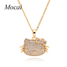2016 New Hello Kitty Necklaces For Girls Gold Pave Setting Cubic Zirconia Cute Cat Alloy Jewelry Hot Sales ZK35