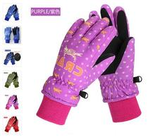 Winter children ski gloves, boys and girls outdoor skiing board warm gloves and plush thickening waterproof