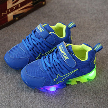New 2017 European Pu leather LED lighted toddler high quality fashion first walkers sneakers Lovely boys girls baby shoes(China)