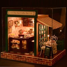 3D miniature toy house puzzle doll toy gift DIY wooden doll house with furniture and lamp model building small ornaments