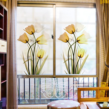 Support Custom Size Stained Self-adhesive Window Film Glass Stickers Static Electricity Home Decor Bedroom Closet Wardrobe Tulip(China)