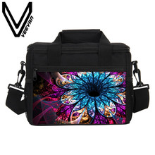 VEEVANV Brand 2017 Flowery Flowers Lunch Bags 3D PU Prints Cooler Insulated Lunch Bags for Women Food Picnic Bag PU Tote Handbag