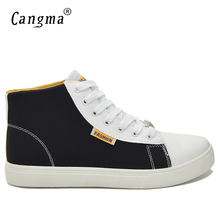 CANGMA Original Brand Canvas Sneakers Men Black And Red High Casual Shoes Multi-Colored Man's Lace Up Trainers Male Bass Shoes(China)