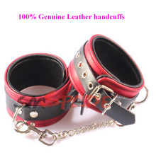 Buy Genuine leather handcuffs, poetical leather bondage restraint wrist cuffs adult sex toys couples ,sex game restraints