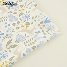 Booksew Home Textile For Patchwork Bedding Cloth Baby Pillow Quilting Blue Flower And Sika Deer Pattern Cotton Twill Fabric(China)