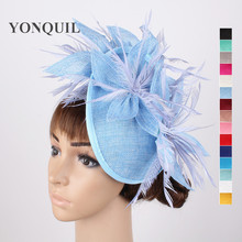 16 Colors or Light blue fascinator hats flower hair accessories ladies kentucky derby hats fascinator headbands with feathers(China)
