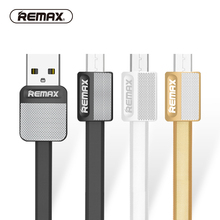 REMAX Micro USB Data cable flat metal charging cable 2.1A durable fast charger cable for xiaomi/sony/samsung/HTC/mezu(China)