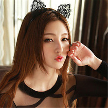Female Girls Kids Cute Black Cat Kitty Costume Headwear Ear Party Lace Hair Head Bands Headbands Hairbands Accessories