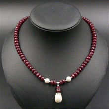 Natural  Stone Jewelry Elegant Noble Deep Red Rubies Beaded Necklace with  Shell Pearl Pendant