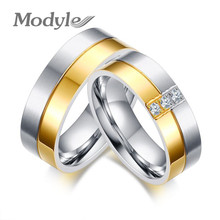 Modyle 2017 Fashion Wedding Rings for Women and Men Gold-color Elegant Lovers Couple Promise Ring Anniversary Jewelry(China)