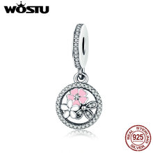 WOSTU New Trendy 925 Sterling Silver Poetic Blooms Dangle Charm Fit Original pandora Beads Bracelet Fashion Jewelry Gift CQC139(China)