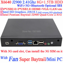 China new products mini pc business computer for office Intel Pentium Baytrail J2900 Quad Core with 3G card slot