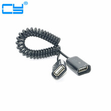 50cm/0.5m USB 2.0 Female to Female Spring Coiled Extention Coil Cable Adapter Connector(China)