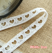 5yrd/lot Width: 2cm Lovely heart hollow out lace trims garment Cotton water soluble lace Scrapbooking DIY accessories(ss-6857)