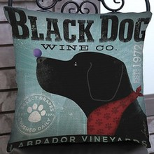 Retro Nostalgic Black Dog Print Sofa Throw Pillow Vintage Home Decorative Cotton Linen Chair Seat Back Cushion Outdoor Pillows(China)