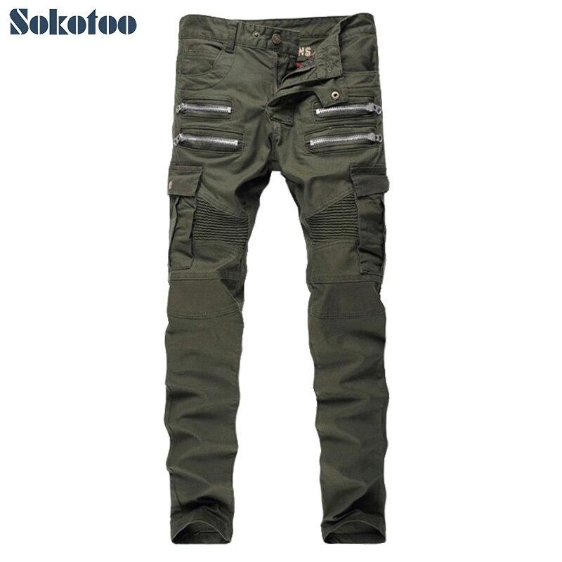 Sokotoo Mens military green slim stretch biker jeans Zippers and pockets patchwork pleated denim pencil pants Long trousersÎäåæäà è àêñåññóàðû<br><br>