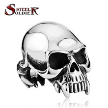 Steel soldier 2015 new Designed products  Man's Vampire Skull Ring ALCHEMY GOTHIC high Quality