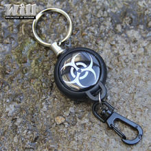 EDC Outdoor Steel Rope Burglar Keychain Stalker Soft Shell Tactical Retractable Key Chain, Key Return key ring Camping GS-0045(China)
