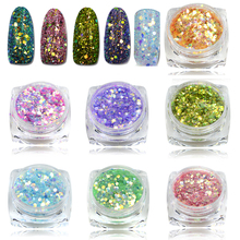 STZ 1pcs 3D Colorful Shinning Nail Glitter Sequin Slice Paillette Mixed Glitter Powder Nail Art Tips Fashion Nail Decor T08-26