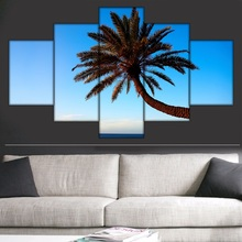 5 Piece Blue Sky Sea Palm tree wall Art wall pictures for living room bedroom decorative pictures Painting printed on canvas(China)