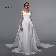 Buy LORIE Chiffon Wedding Dresses Spaghetti Strap Cheap Appliques Lace Sweep Train White Caped Bridal Dress Beach Wedding Gown 2018 for $88.19 in AliExpress store