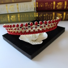 2016 new fashion vintage and elegant red tiara bride wedding hair ornament Baroque hair jewelry for brides