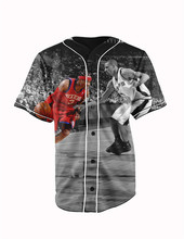 Real American Size Allen Iverson 3D Sublimation Print Custom made Button up baseball jersey plus size