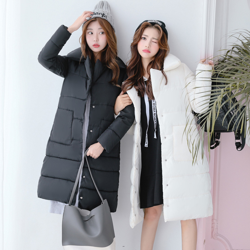 Womens Winter Cotton Padded Jackets Slim Coat Colorful Parka Warm Long Jackets Turn Down Collar Pockets Overcoat Female ParkasÎäåæäà è àêñåññóàðû<br><br>
